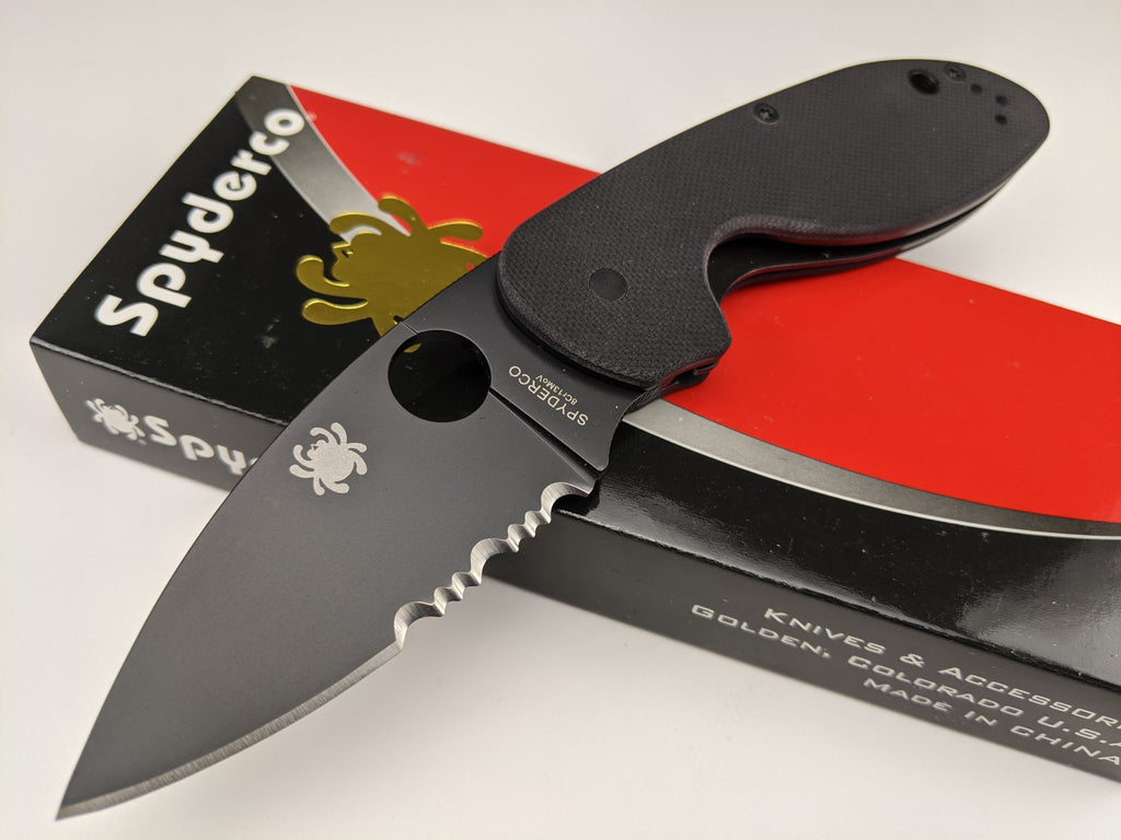Spyderco Efficient Partially Serrated Blade Folding Knife Black G10 C216GPSBBK