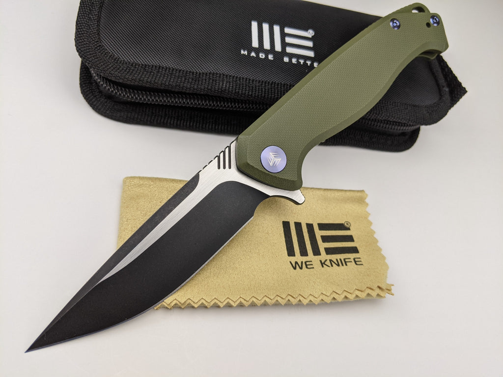 We Knife Streak 818B Bohler M390 2-Tone Blade Green G10 Handle Liner Lock Knife