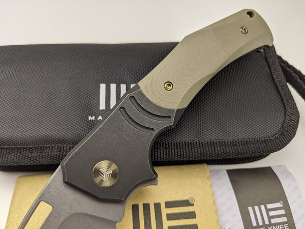 We Knife JIXX 904B Bohler M390 Blade Titanium Tan G10 Handle Frame Lock Knife