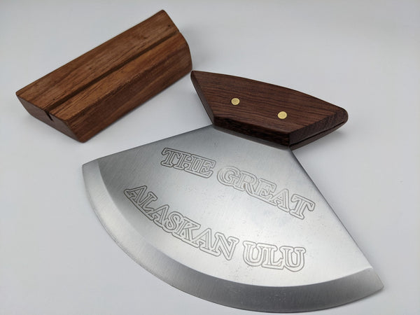 The Great Alaskan Ulu Knife - Includes Wood Stand - Stainless Blade - Gift Boxed