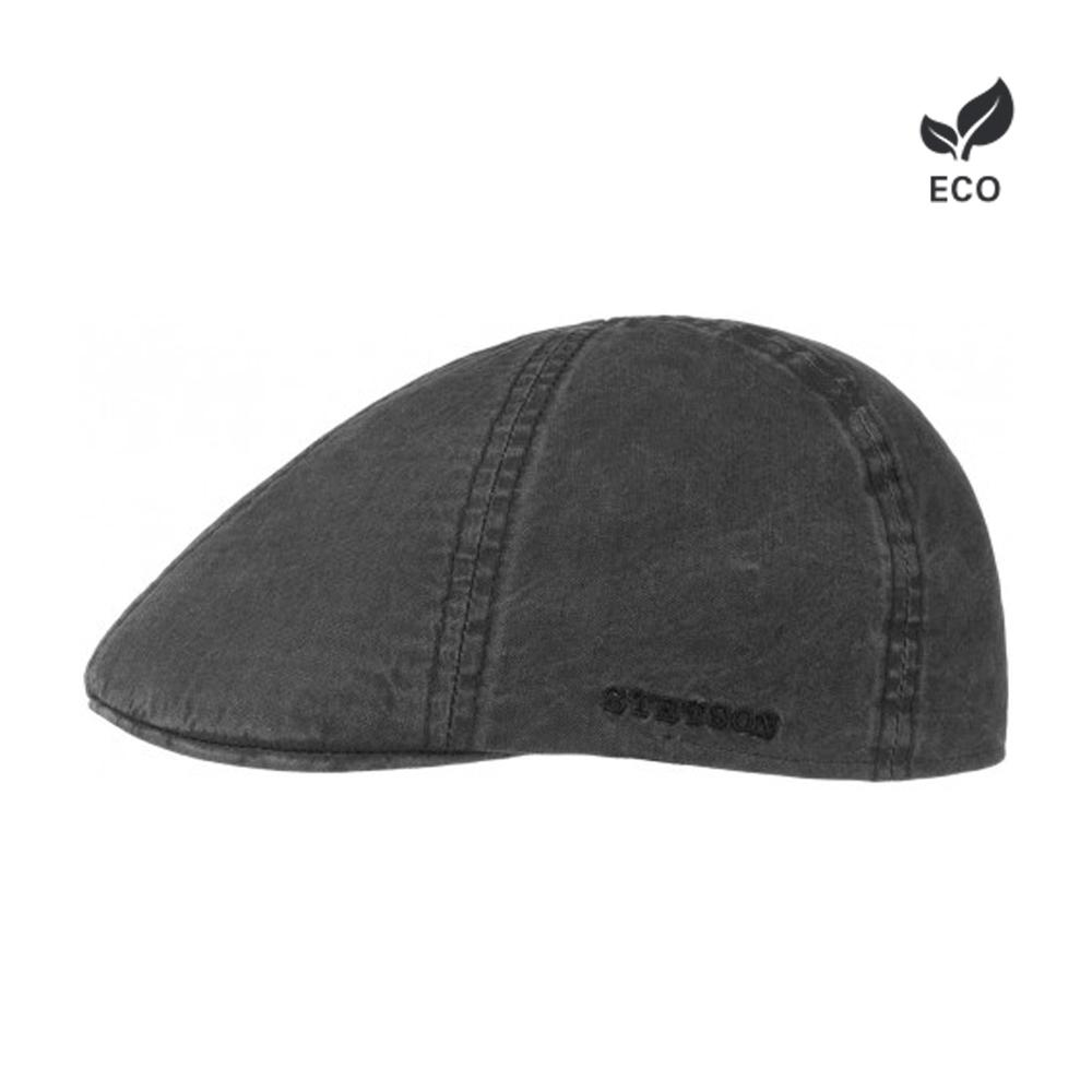 Stetson Texas Organic Cotton Sixpence Flat Cap Black Sort Eco Logo