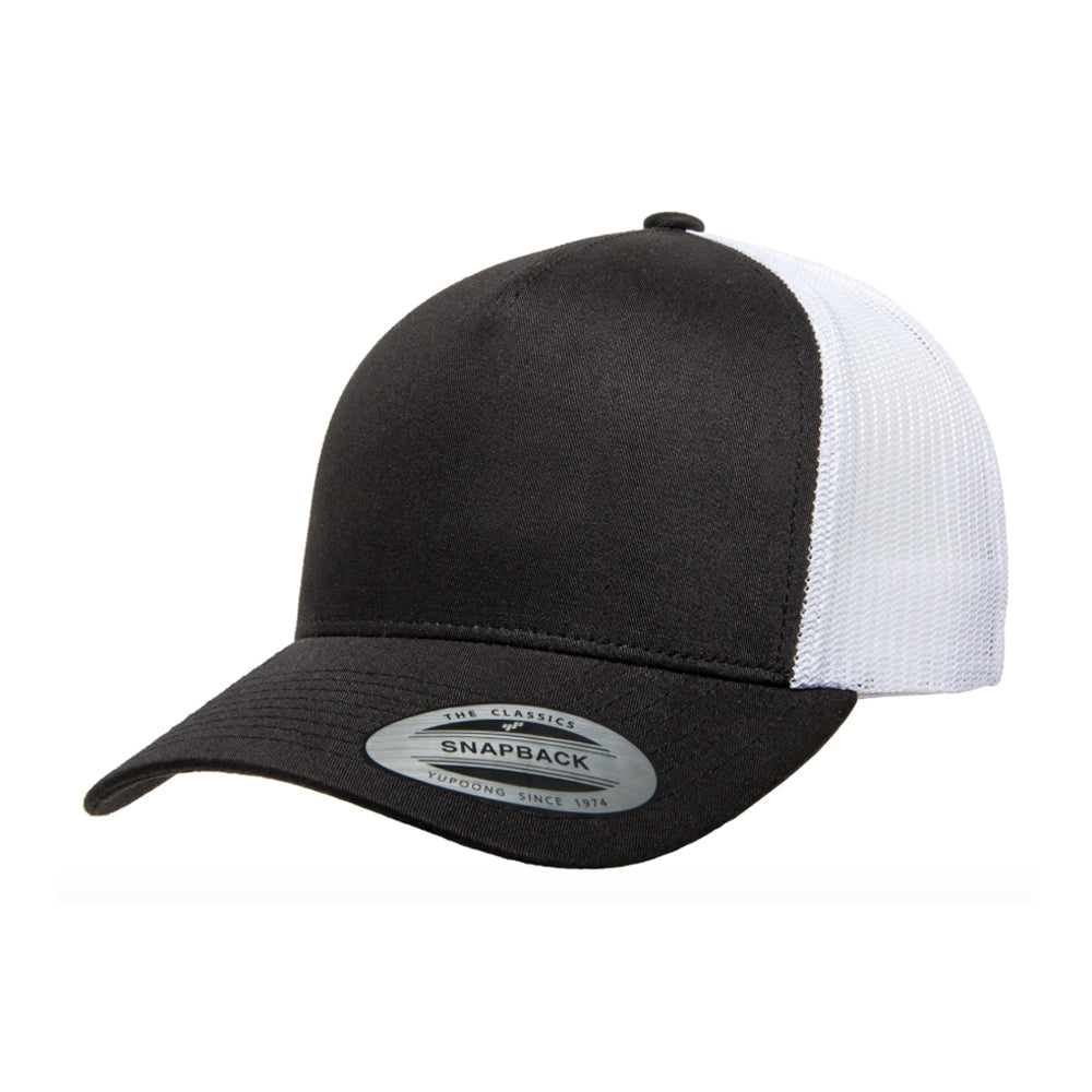Flexfit Yupoong Trucker 5 Panel Snapback 6506 Black White Sort Hvid