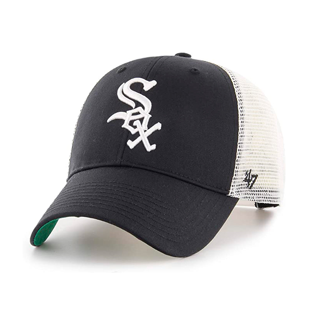 47 Brand Chicago White Sox MVP Branson Trucker Snapback Black White Sort Hvid