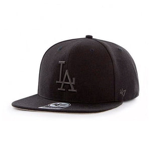 47 Brand Los Angeles LA Dodgers Matte Captain Snapback Black on Black Sort Sort B-MATTE12WBP-BKA
