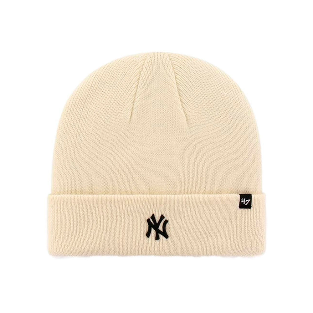 47 Brand NY Yankees Centerfield Beanie Fold Up Natural White Black Hvid Sort B-CFDCN17ACE-NT