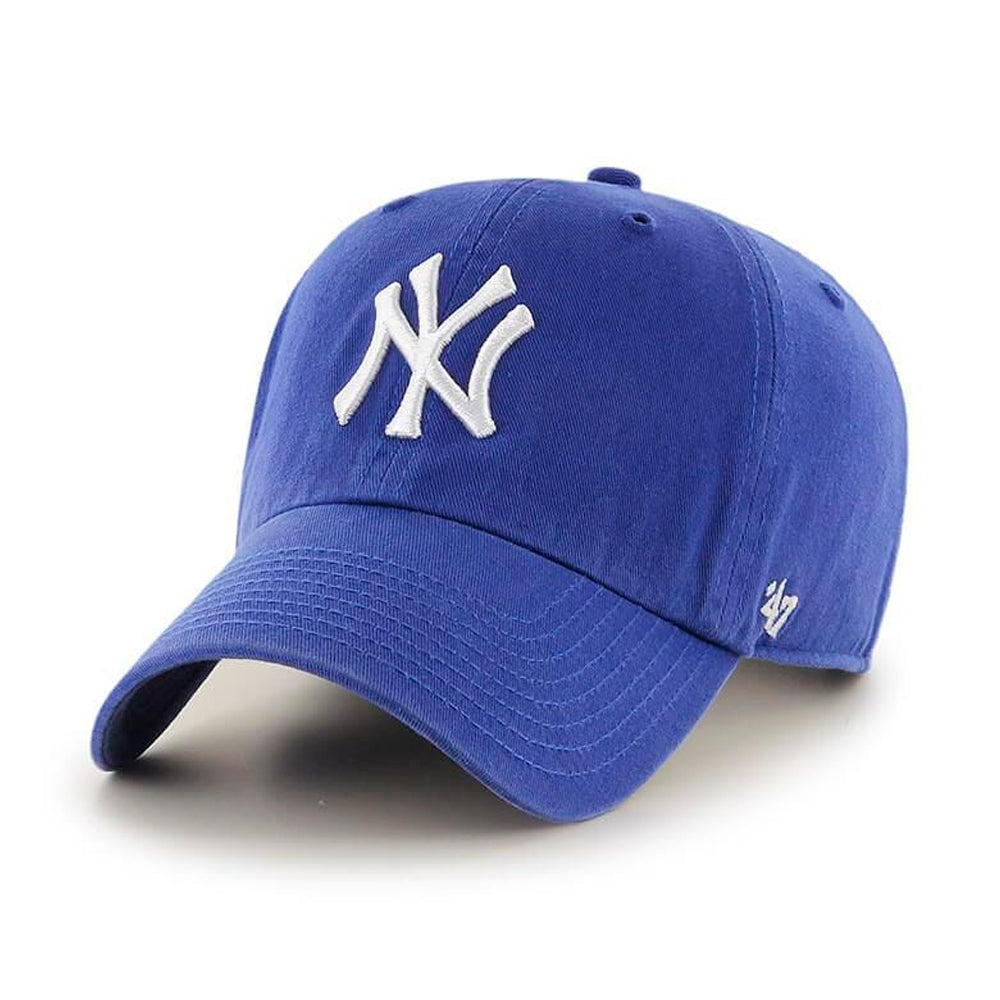 47 Brand New York NY Yankees Clean Up Adjustable Justerbar Royale Blue White Kongeblå Hvid B-RGW17GWS-RY