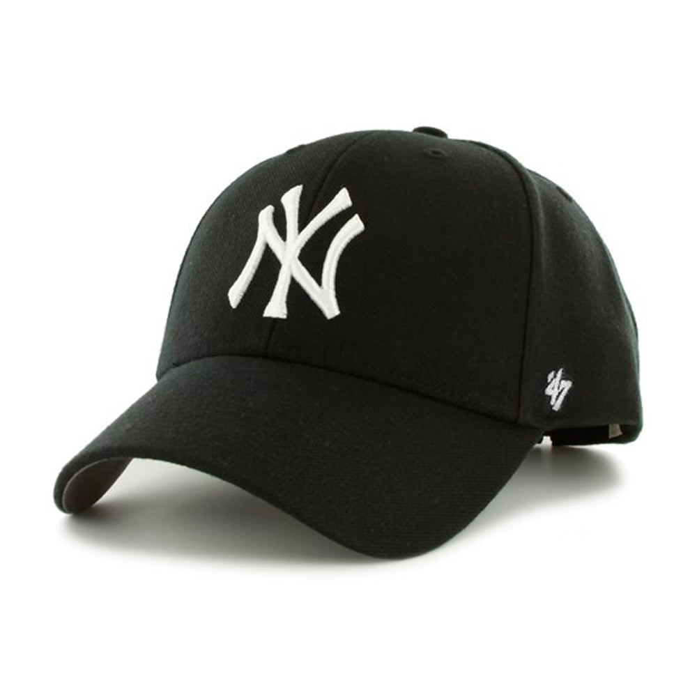 47 Brand MLB New York NY Yankees MVP Adjustable Velcro Justerbar Black White Sort Hvid B-MVP17WBV-BK