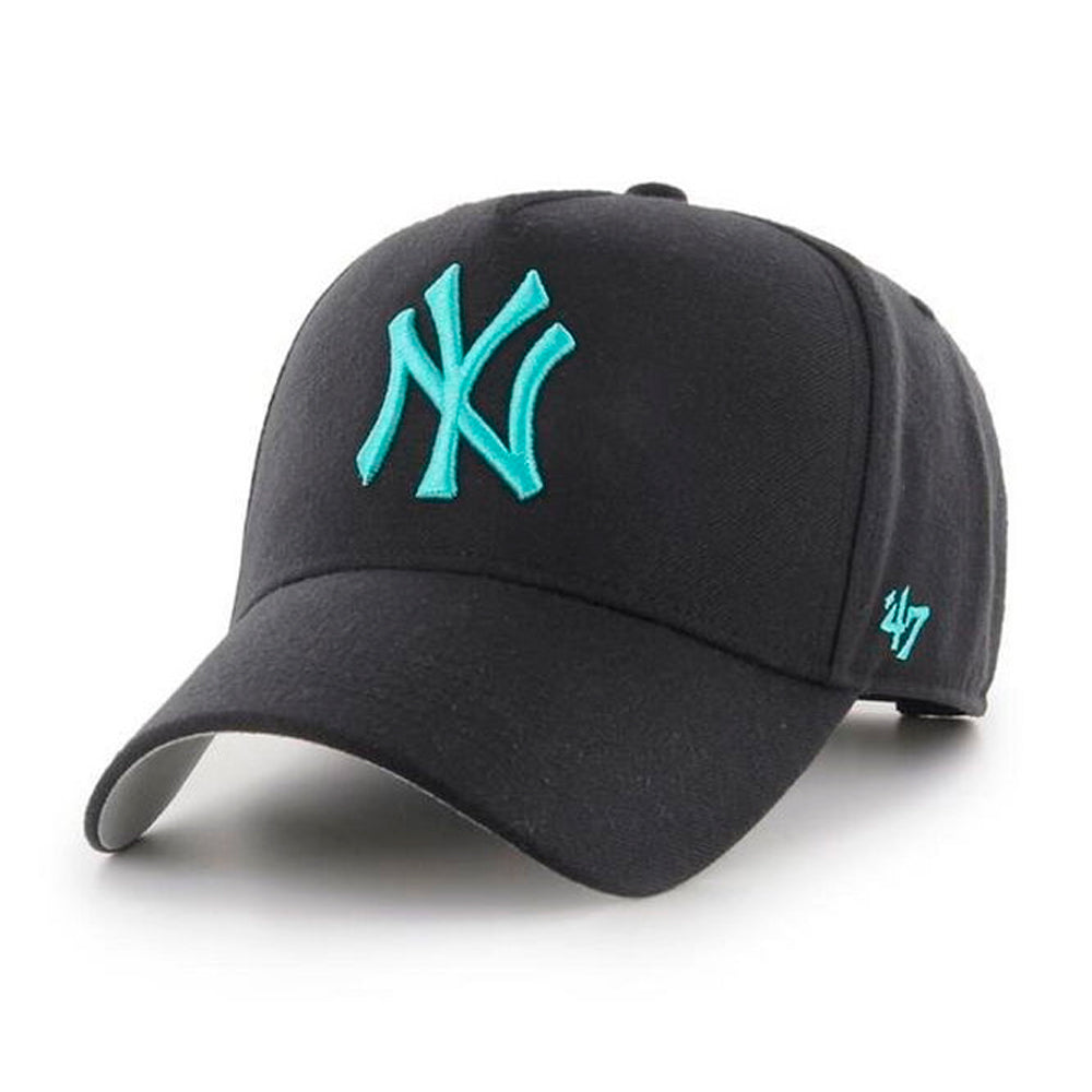 47 Brand MLB NY New York Yankees MVP DT Snapback Black Blue Teal Sort Hvid