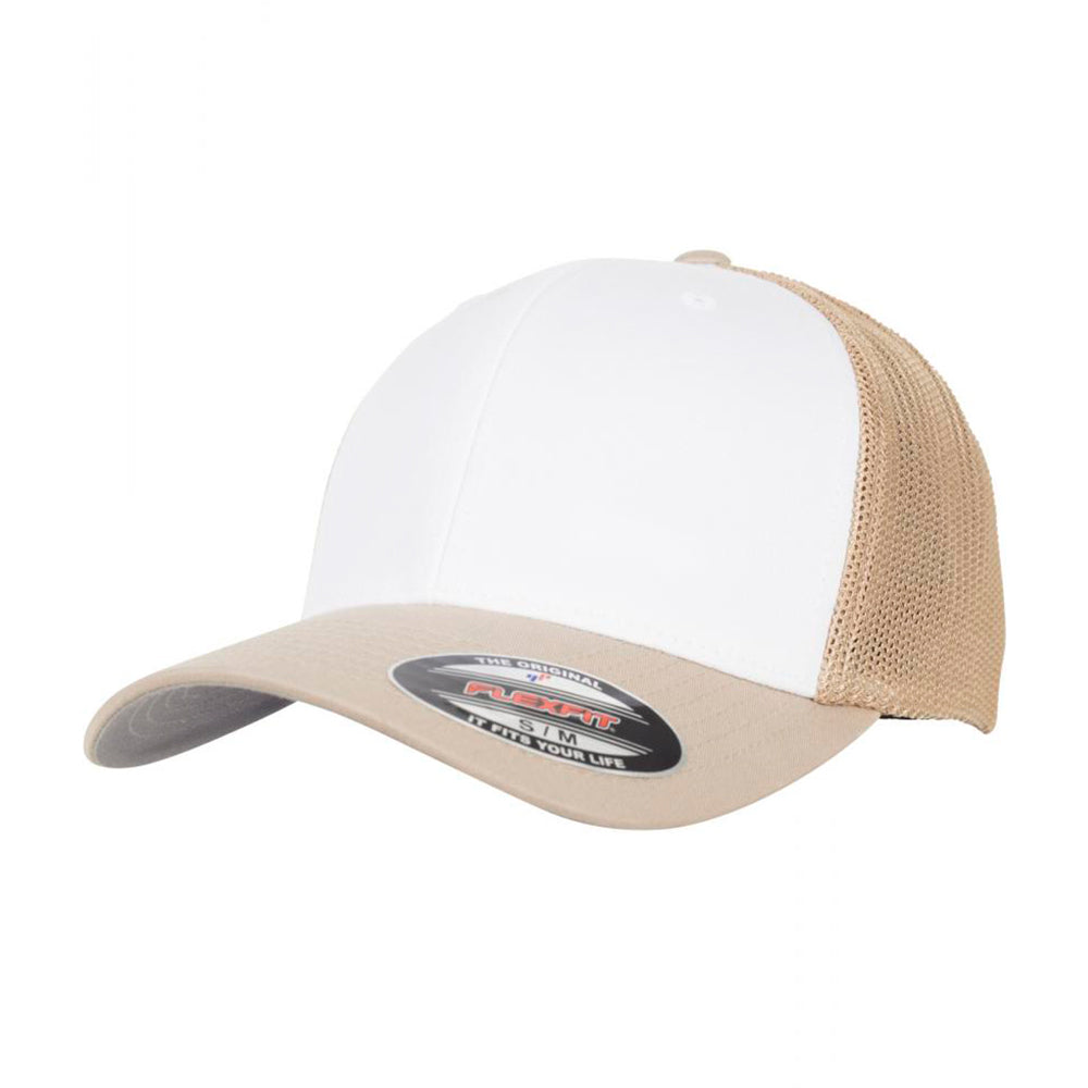 Flexfit Mesh Colored Front Flexfit 6511CF Khaki White Beige White