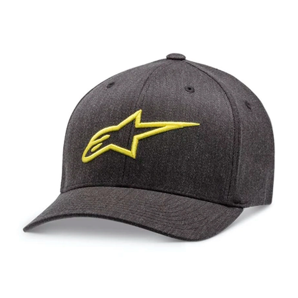 Alpinestars Ageless Curved Hat Flexfit Charcoal Heather Hivis Yellow Mørkegrå Gul