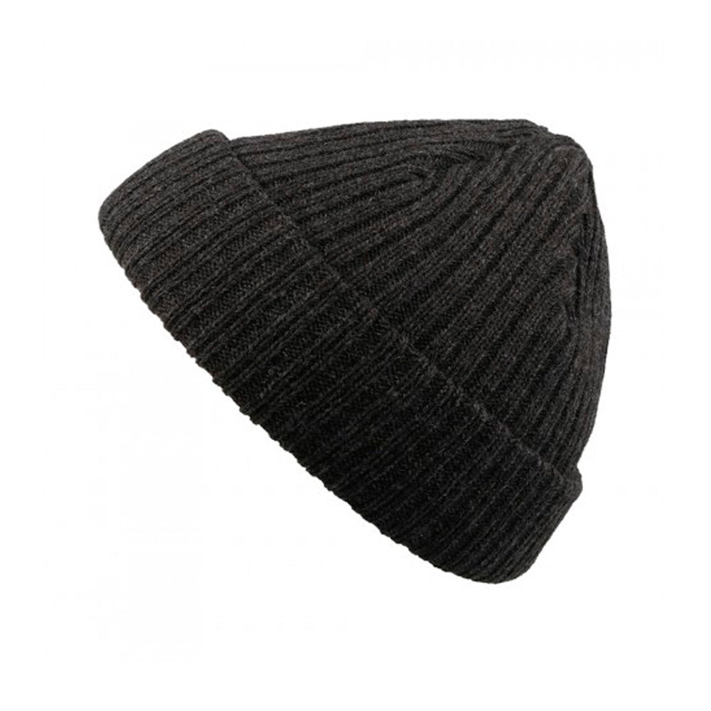 Atlantis Docker Fold Hue Fold Up Beanie Black Dark Grey Melange Sort Mørkegrå