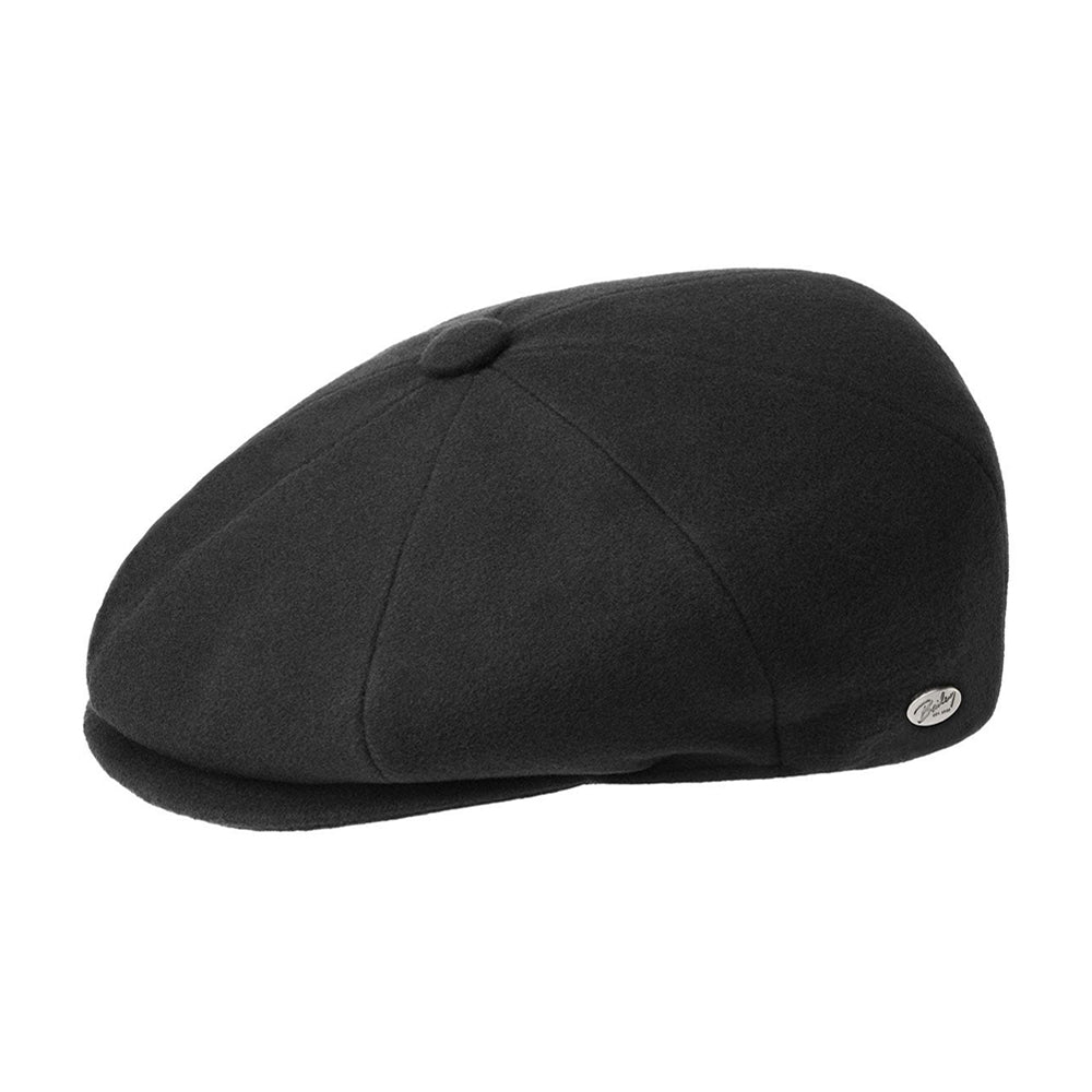 Bailey Galvin Wool Sixpence Flat Cap Black Sort