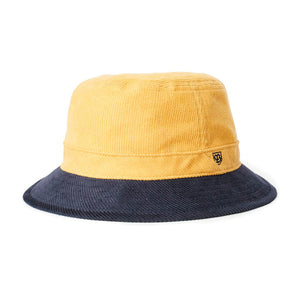 Brixton B Shield Bucket Hat Sunset Yellow Washed Navy Gul Blå