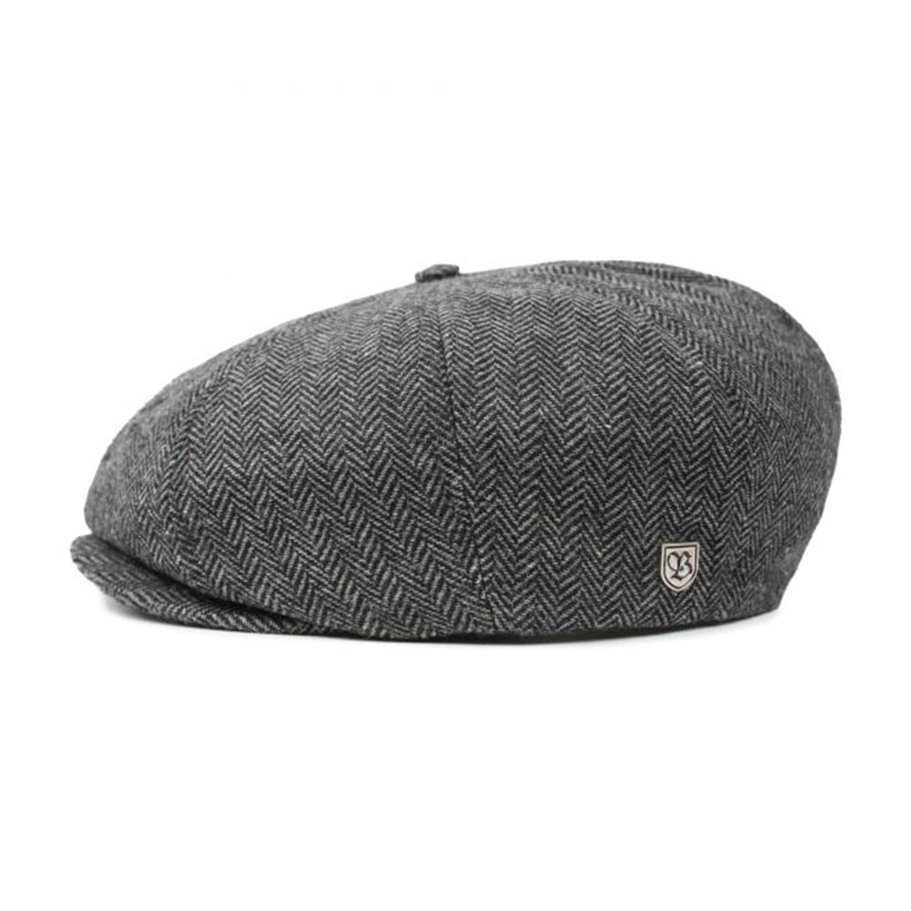 Brixton Brood Snap Cap Sixpence Flat Cap Grey Black Grå Sort