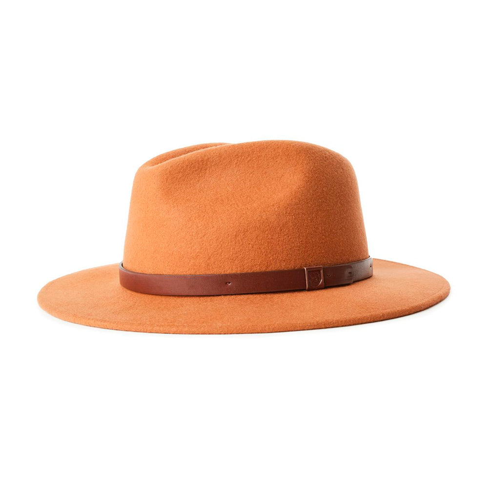 Brixton Messer Fedora Hat Hide Orange Brown Brun