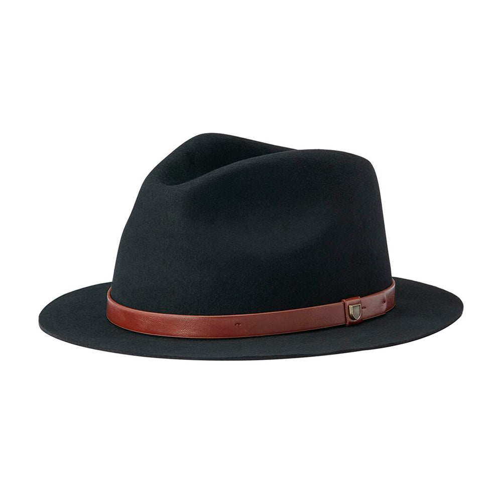 Brixton Messer Short Brim Fedora Feodra Hat Black Sort 10606-BLACK