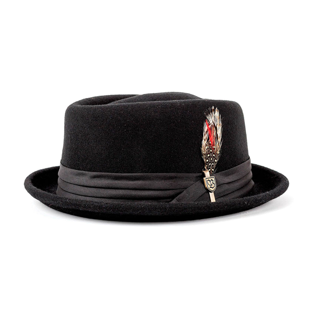 Brixton Stout Pork Pie Fedora Hat Black Sort 10764-BKBLK