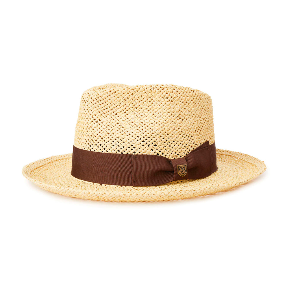 Brixton Swindle Straw Fedora Straw Hat Dark Tan Beige Brun