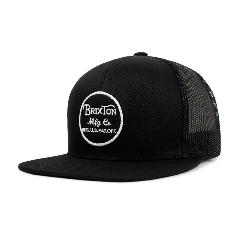 Brixton Wheeler Mesh Cap Trucker Snapback Black on Black Sort
