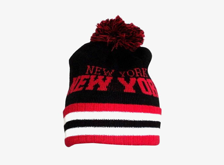 City Hunter New York Stirpe Beanie Black Red Sort Rød Fold Hue Huer