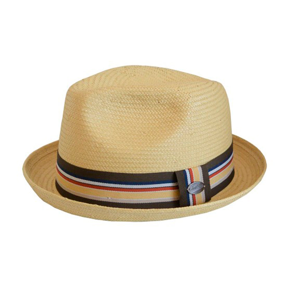 City Sport Hatte Alberto Fedora Strip Straw Hat Beige