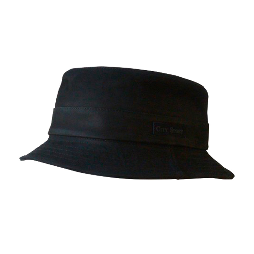 City Sport Leather Bucket Bucket Hat 831008 Black Sort