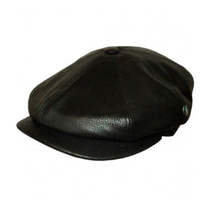 City Sport Eight Piece Sixpence Leather Flat Cap M20 1003 Black Sort
