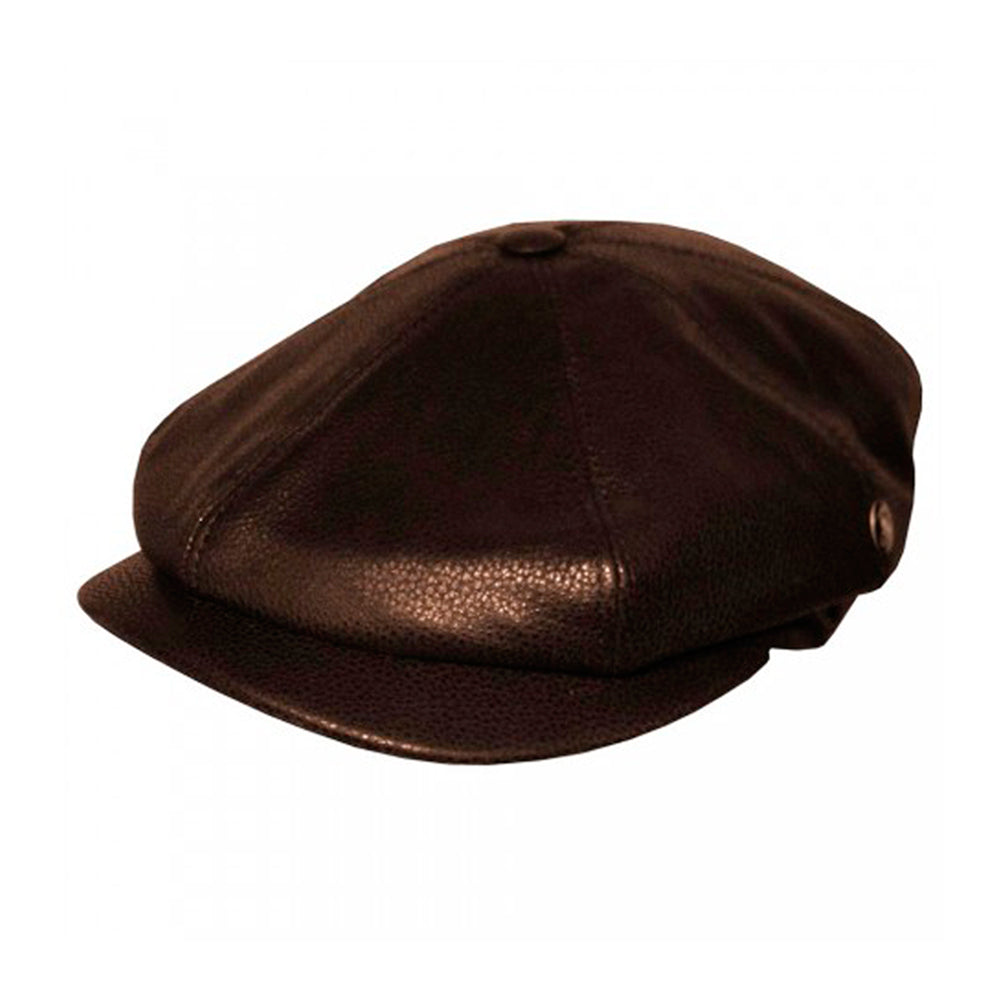 Eight Piece Sixpence Leather Flat Cap M20 1004-BRN