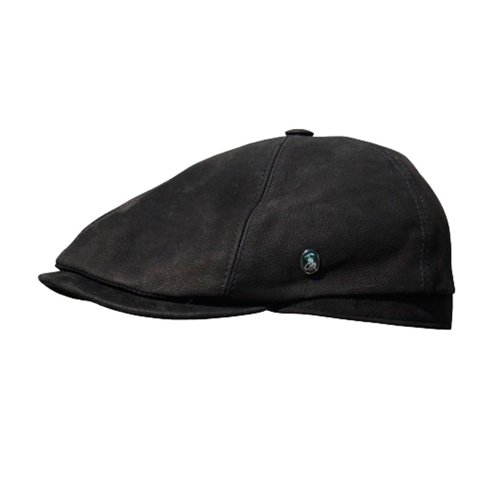 City Sport Leather Sixpence Flat Cap M22 1006 Black Sort