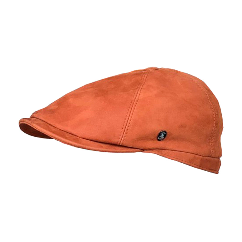 City Sport Leather Sixpence Flat Cap M22 1018 Cognac Orange