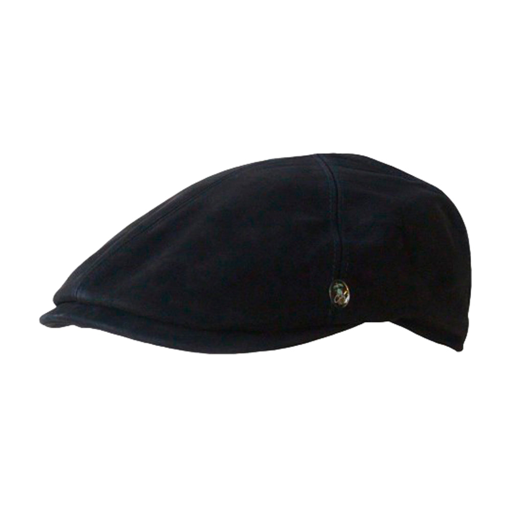 City Sport Leather Sixpence Flat Cap M23 1006-BLK Black Sort