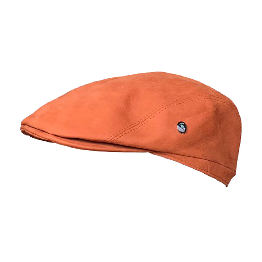 City Sport Leather Sixpence Flat Cap M91 1018 Cognac Orange