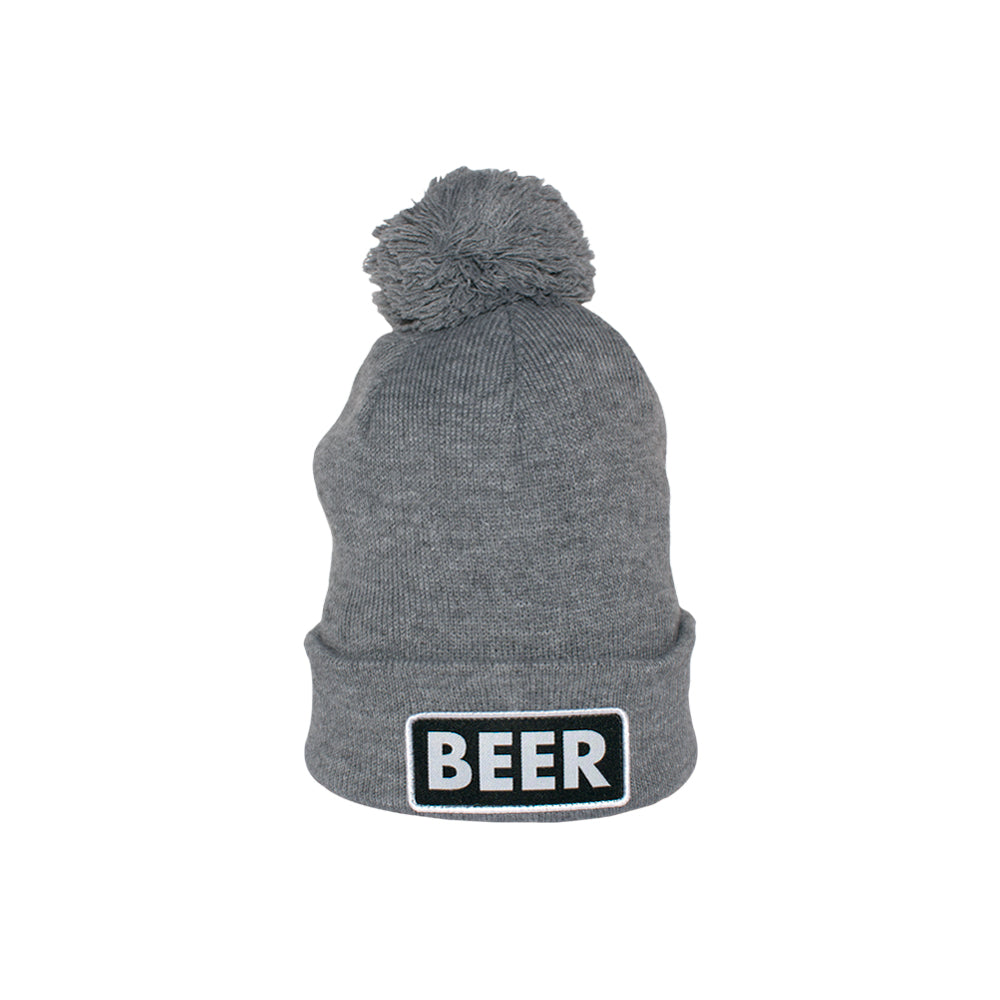 Caol The Vice Beer Pom Fold Up Beanie Heather Grey Grå