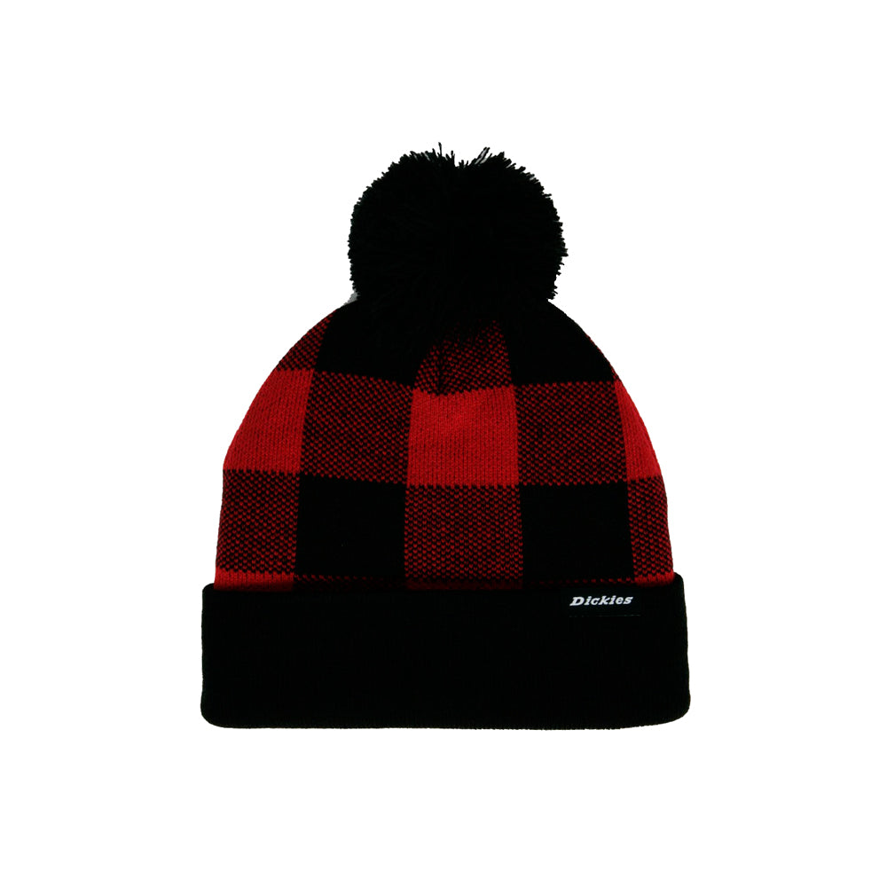 Dickies Shawsville Pom Fold Up Huer Strikkede Huer Beanie Red Black Rød Sort