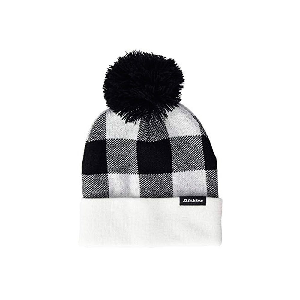 Dickies Shawsville Pom Fold Up Huer Strikkede Huer Beanie White Black Hvid Sort
