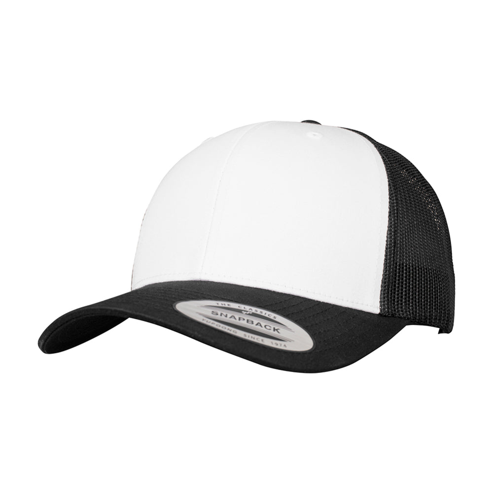 Flexfit Retro Colored Front Trucker Snapback 6606CF Black White Sort Hvid