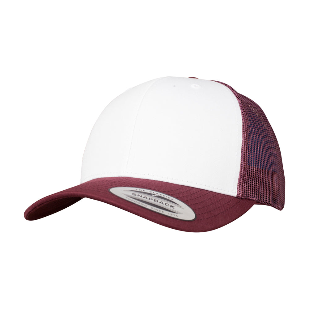 Flexfit Retro Colored Front Trucker Snapback 6606CF Maroon White Rød Hvid