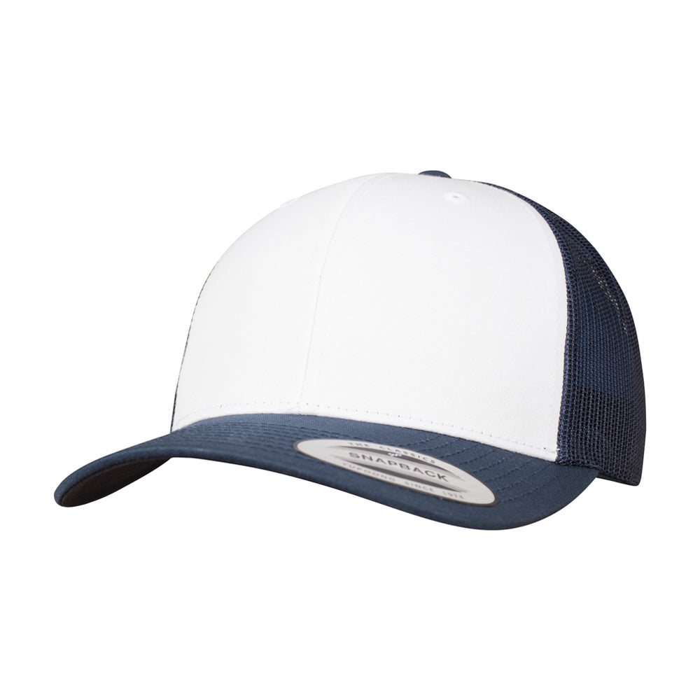 Flexfit Retro Colored Front Trucker Snapback 6606CF Navy White Blå Hvid