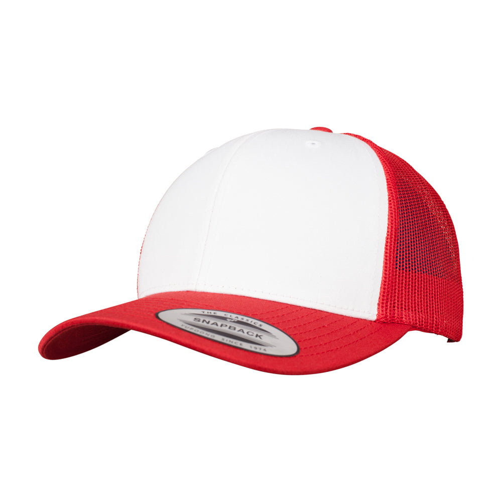 Flexfit Retro Colored Front Trucker Snapback 6606CF Red White Rød Hvid