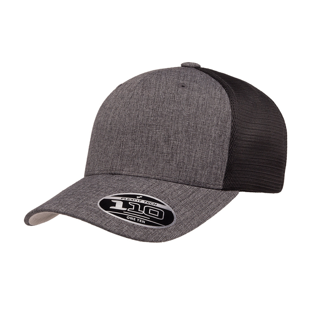 Flexfit Baseball 110 Mesh Snapback Melange Charcoal Black Grå Sort 110M ML-CHA-BLK