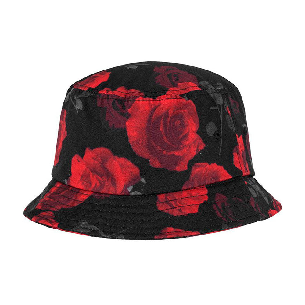 Flexfit Bucket Hat 5003 Black Red Rose Sort Rød