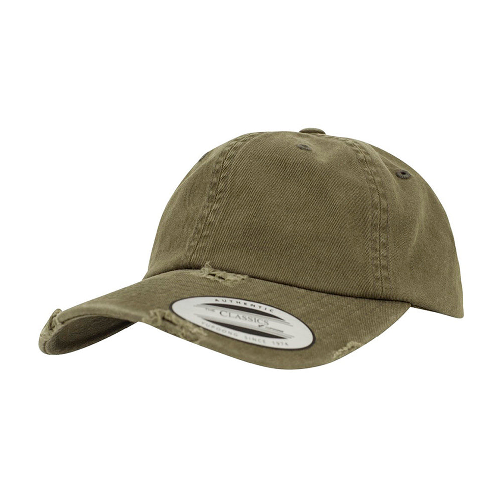 Flexfit Yupoong Dad Cap Justerbar 6245SP Olive Destroyed Grøn