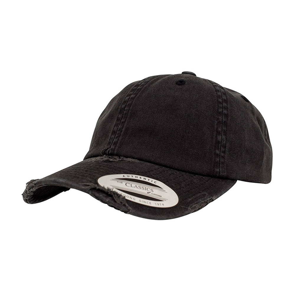 Flexfit Yupoong Dad Cap Justerbar 6245SP Black Destroyed Sort