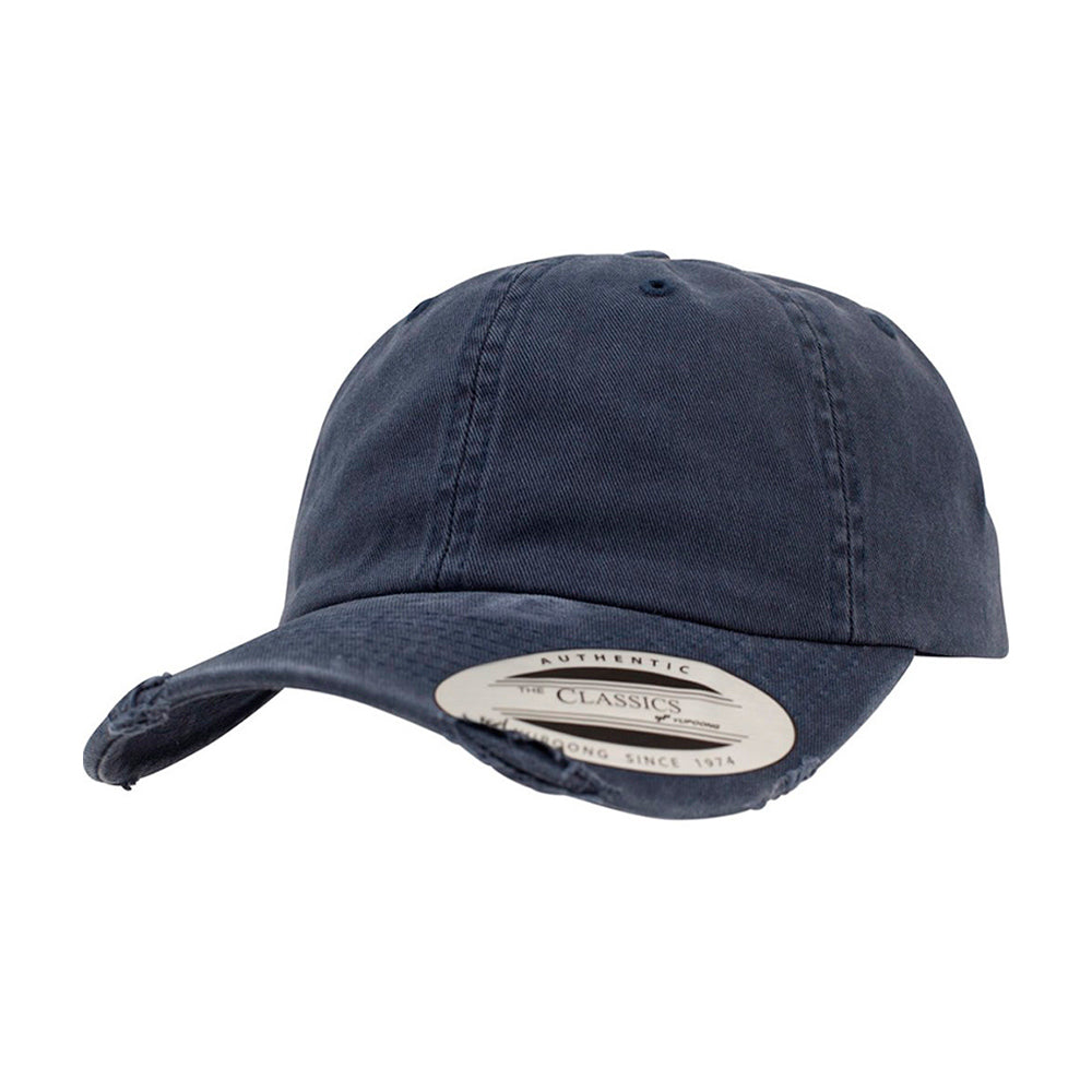 Flexfit Yupoong Dad Cap Justerbar 6245SP Navy Destroyed Blå