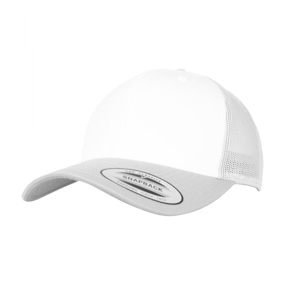 Flexfit Retro Colored Front Trucker Snapback 6606CF Silver White Sølv Hvid