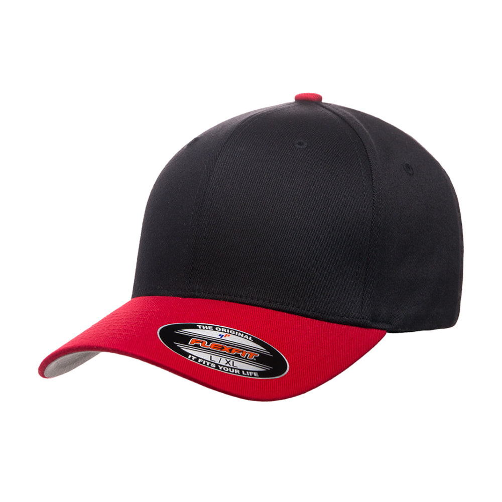 Flexfit Baseball Original Flexfit 6277 Black Red Sort Rød