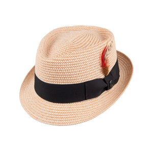 Jaxon & James Diamond Crown Toyo Braided Pork Pie Hat Straw Hat Natural Beige
