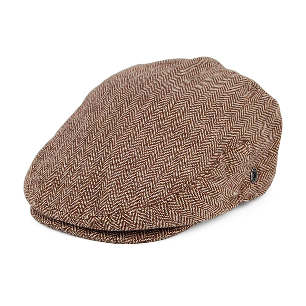 Jaxon & James Herringbone Sixpence Flat Cap Brown Brun