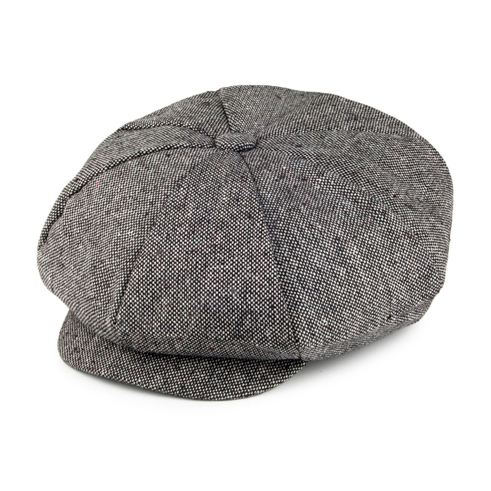 Jaxon & James Marl Tweed Big Apple Sixpence Flat Caps Black Sort
