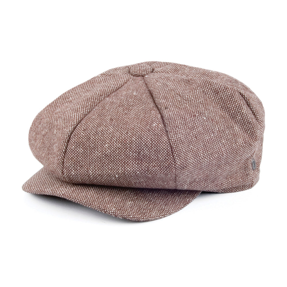 Jaxon & James Marl Tweed Big Apple Sixpence Flat Caps Brown Brun